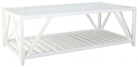 Block & Chisel rectangular flat white coffee table with a glass top