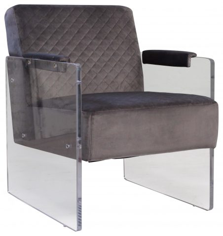 Block & Chisel grey velvet upholstered club chair with acrylic base