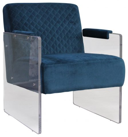 Block & Chisel blue velvet upholstered club chair with acrylic base
