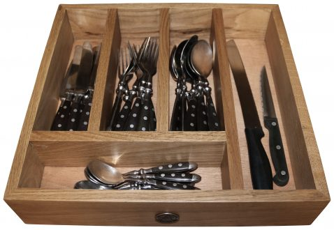 Block & Chisel solid weathered oak cutlery tray
