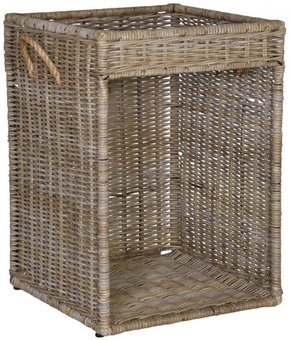 Block & Chisel square kubu rattan side table basket with handles