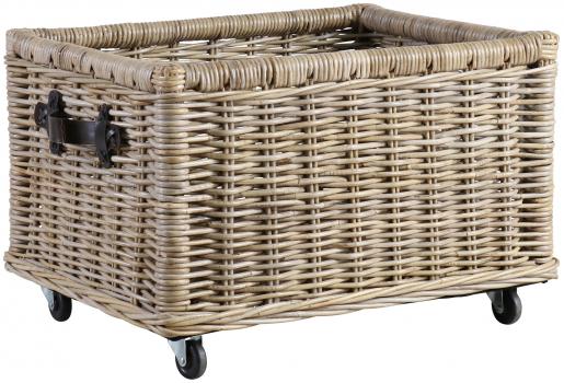 Block & Chisel kubu rattan basket with leather handles