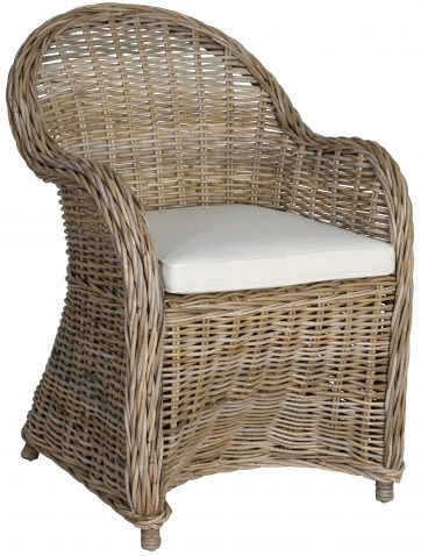 Block & chisel kubu rattan armchair with white seat cushion
