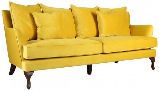 Block & Chisel yellow upholstered 3 seater sofa