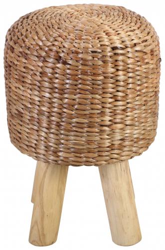 Block & Chisel woven water hyacinth stool with teak wood legs