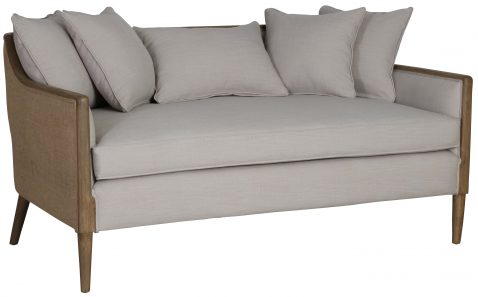 Block & Chisel french inspired upholstered sofa with mindi wood legs