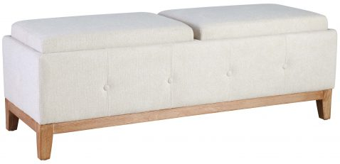 Block & Chisel cream upholstered bed end with oak wood legs