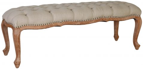 Block & Chisel linen upholstered button tufted bed end