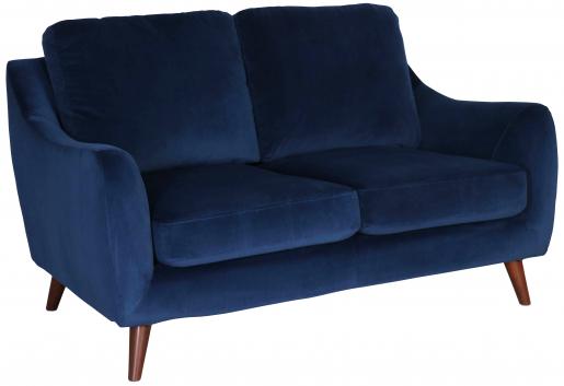 Block & Chisel navy blue velvet upholstered 2 seater sofa