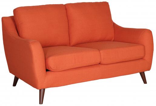 Block & Chisel orange upholstered 2 seater sofa
