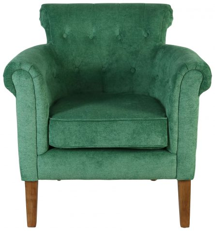 Block & Chisel green upholstered occasional chair with rubber wood legs