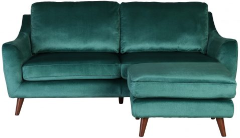 Block & Chisel green velvet upholstered 2 seater sofa with ottoman