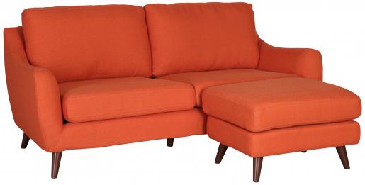 Block & Chisel orange velvet upholstered 3 seater sofa with ottoman