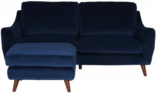 Block & Chisel navy blue velvet upholstered 2 seater sofa with ottoman