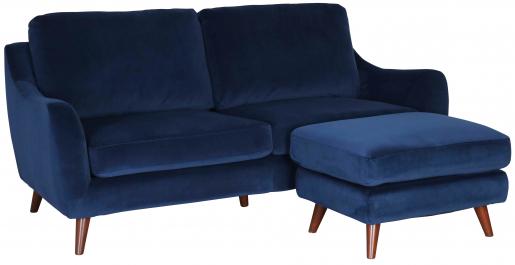 Block & Chisel navy blue velvet upholstered 3 seater sofa with ottoman