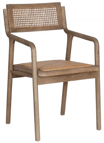 Block & Chisel wooden armchair with rattan seat and backrest