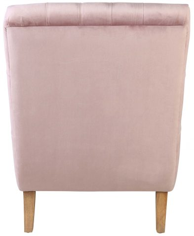 Block & Chisel mink upholstered button tufted lounger with wooden legs