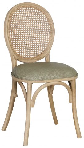 Block & Chisel linen upholstered spa back dining chair with rattan backrest