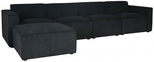 Block & Chisel charcoal corduroy upholstered corner sofa