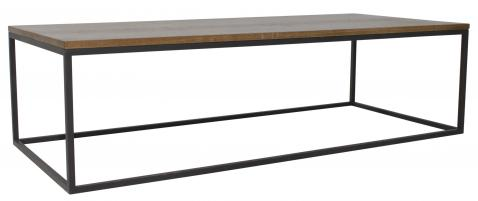 Block & Chisel rectangular weathered oak coffee table with black wrought iron base