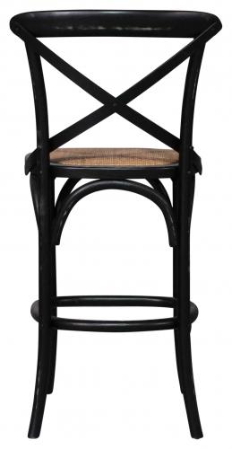 Block & Chisel black elm wood barstool with rattan seat