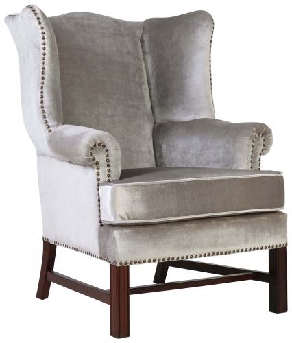 Block & Chisel silver velvet upholstered wingback occasional chair