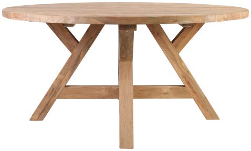 Block & Chisel round reclaimed teak dining table