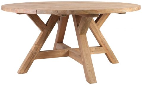 Block & Chisel round reclaimed teak wood dining table