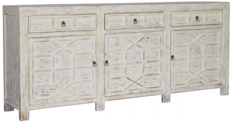 Block & Chisel white old pine oriental inspired sideboard