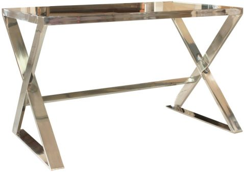 Block & Chisel glass & stainless steel coffee table