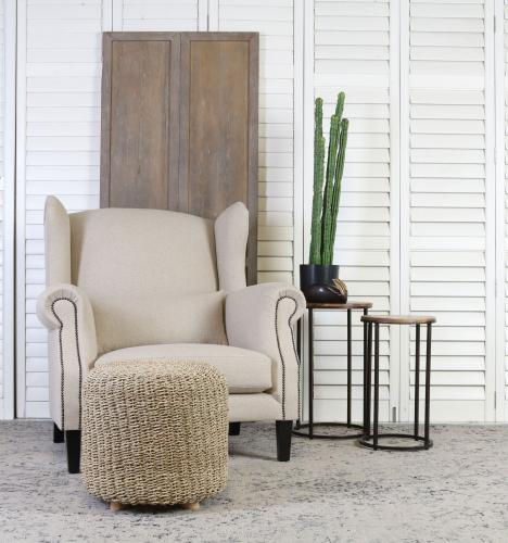 Block & Chisel round woven pandanus stool