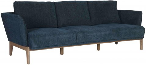 Block & Chisel navy blue upholstered sofa with beech wood legs