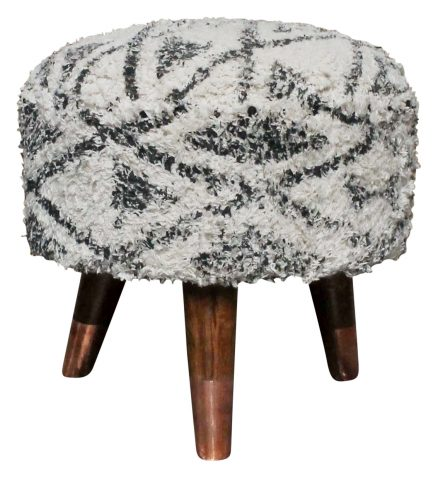 Block & Chisel round black and white shaggy print cotton upholstered stool