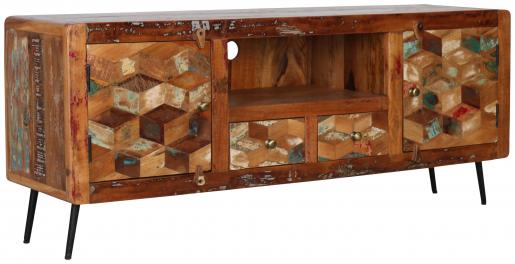 Block & Chisel reclaimed wood tv unit with metal legs