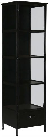 Block & Chisel black iron cabinet with glass door