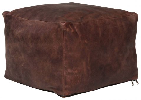 Block & Chisel brown square leather pouf