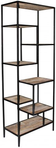 Block & Chisel old elm wood bookshelf with iron frame