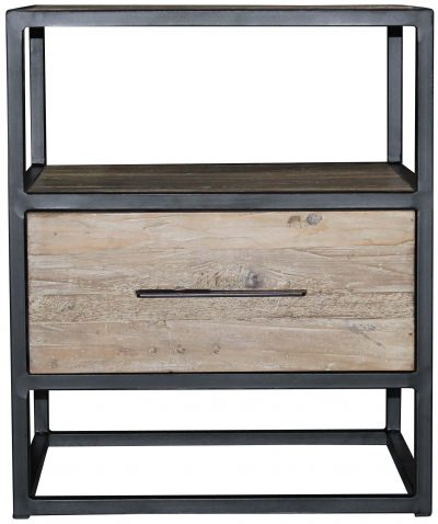 Block & Chisel old elm wood side table with iron frame