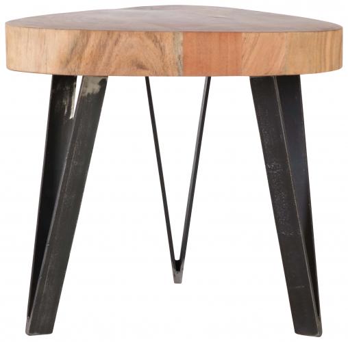 Block & Chisel log wood side table with metal legs