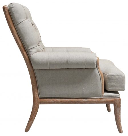 Block & Chisel linen upholstered button tufted armchair