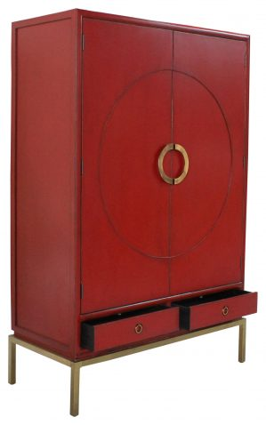 Block & Chisel Chinese Red Cabinet
