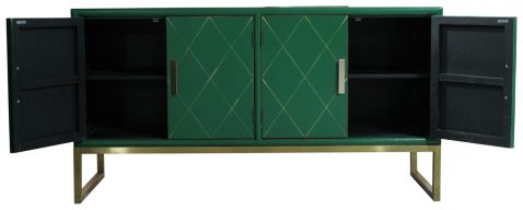 Block & Chisel Sideboard Green Laquer with Gold Diamond detailed doors Gold metal base