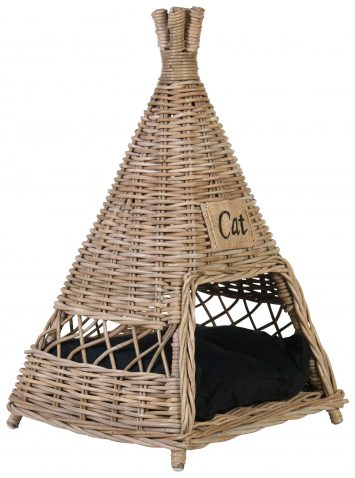 Block & Chisel kubu rattan tipi pet basket with cushion