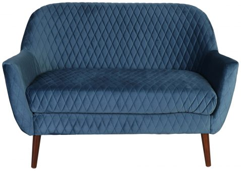 Block & Chisel blue upholstered loveseat with birch wood legs