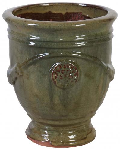 Block & Chisel green terracotta pot with glaze