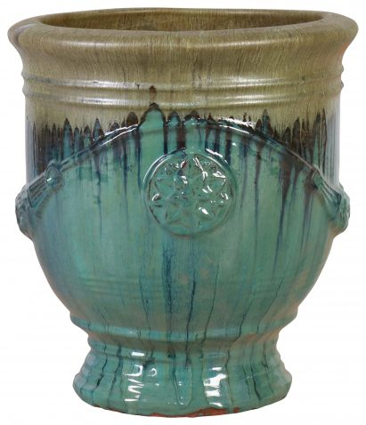 Block & Chisel grey and teal terracotta pot with glaze