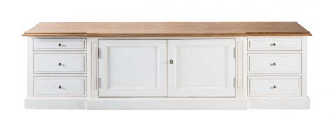 Block & Chisel weathered oak TV console with an antique white base