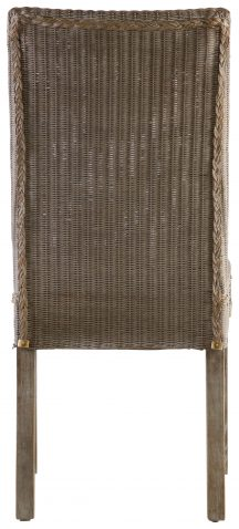 Block & Chisel linen upholstered dining chair with rattan backrest
