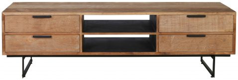 Block & Chisel rectangular wooden tv stand with iron legs