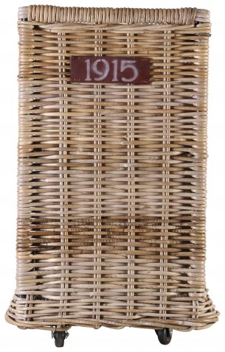 Block & Chisel kubu rattan log basket on wheels